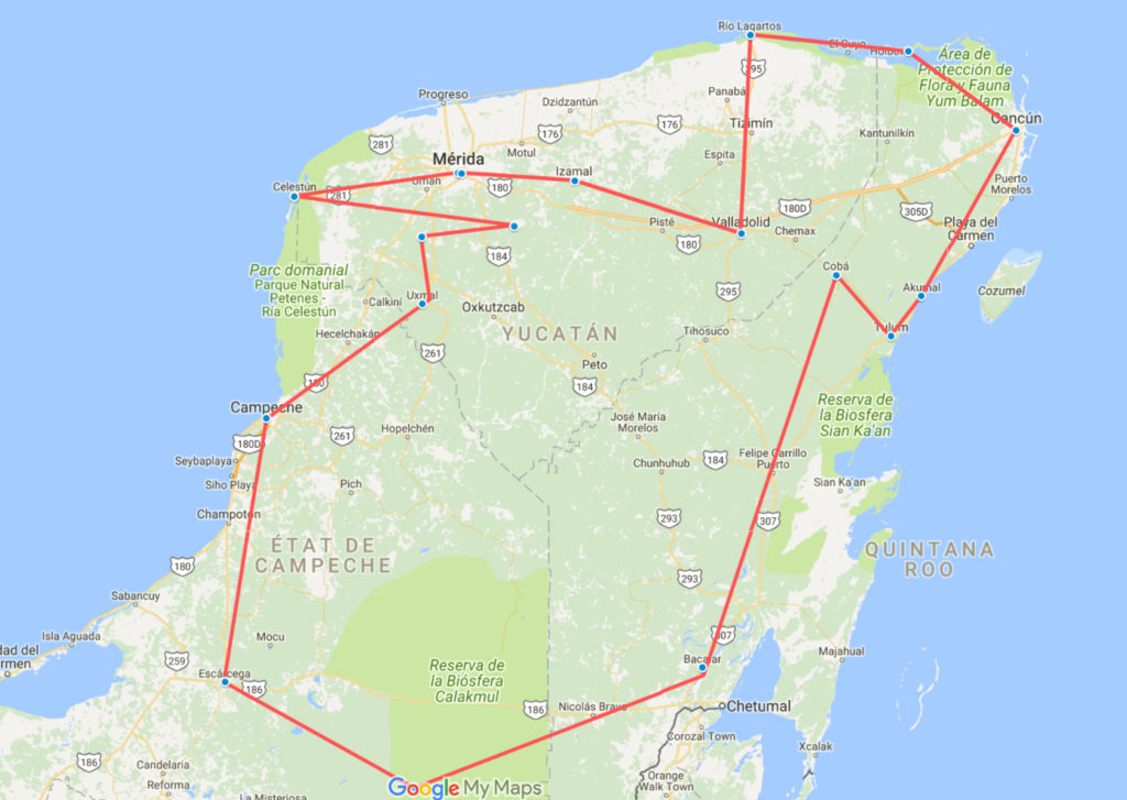 Itinéraire possible d'un voyage de 15 jours au Mexique