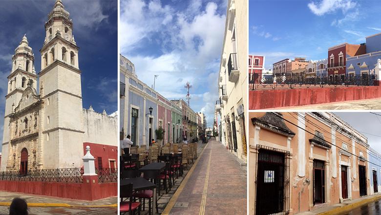 Facades colorées des bâtiments de la ville de Campeche
