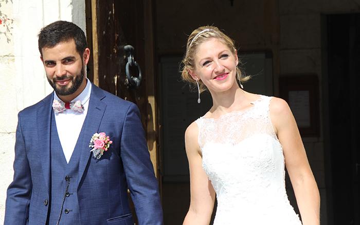 Sortie d'église pour le mariage d'Anaïs et Cédric à Monein